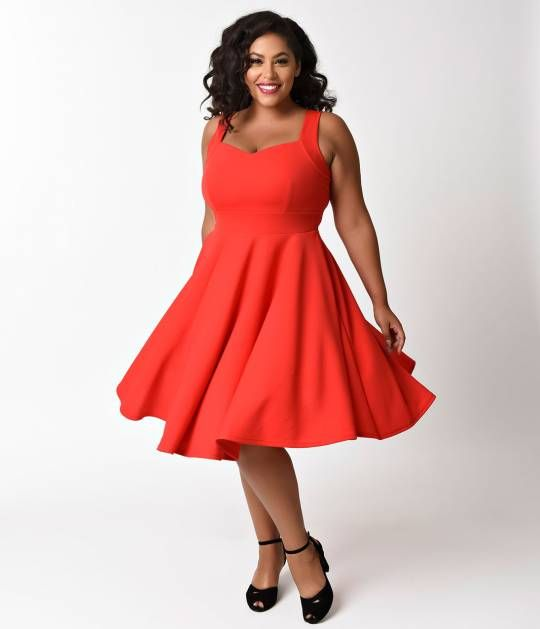 A vision of retro dreams, darling! A vintage-inspired outfit, this hot, sizzling plus size red dress is a supple swing, complete in a romantic texture detail. The darted sweetheart bodice features a sleeveless silhouette and wide shoulder straps for a com