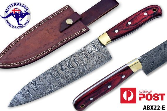 Damascus Steel Custom Handmade 12 4 Kitchen Chef Knife Dyed Wood Handle X22e In 2020 Damascus Steel Knives Kitchen Chefs Leather Sheath