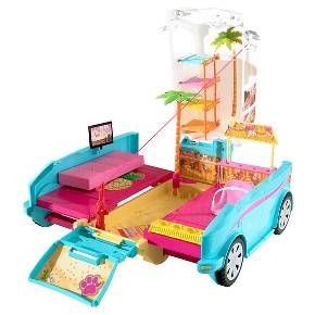 It's the ultimate puppy mobile! Inspired by the film Barbie and Her Sisters in a Puppy Chase, this Barbie vehicle transforms from a sporty SUV to a playground perfect for Barbie doll, her sisters and their adorable pets - four puppies are included for pet play right out of the box (dolls sold separately)! Featuring an aqua exterior with tropical details and a white top with open windows, it's got signature style and rolling wheels that are ready for any adventure that can ...