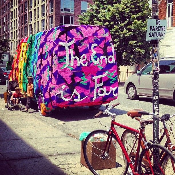 Needlework guru #oleknyc is still at it. Check her crocheted van this week in #williamsburg #IGoftheDay by #lfader #brooklynbowl #brooklyn #concerts #NYC #livemusic #bowlstagram #todaysbestIG