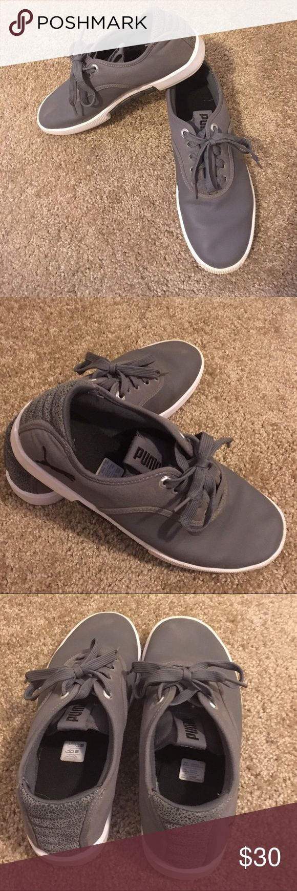 Men's Puma Shoes Sneakers Size 9.5 Men's gray Puma sneakers size 9.5.  One flaw pictured in last photo.  Soil on bottom of Shoes as shown but minimal to no wear.  Good condition. Puma Shoes Sneakers
