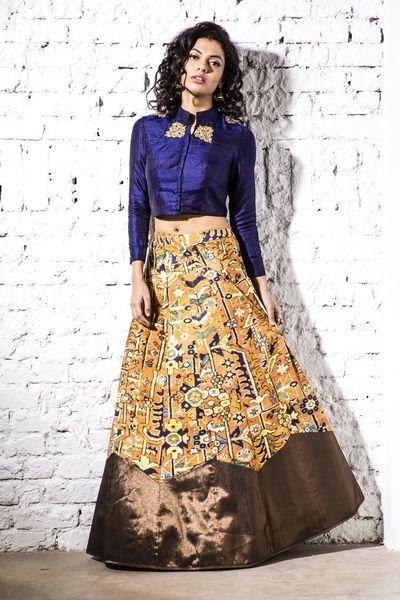 indigo blouse, full sleeves blouse, mustard printed skirt, copper border