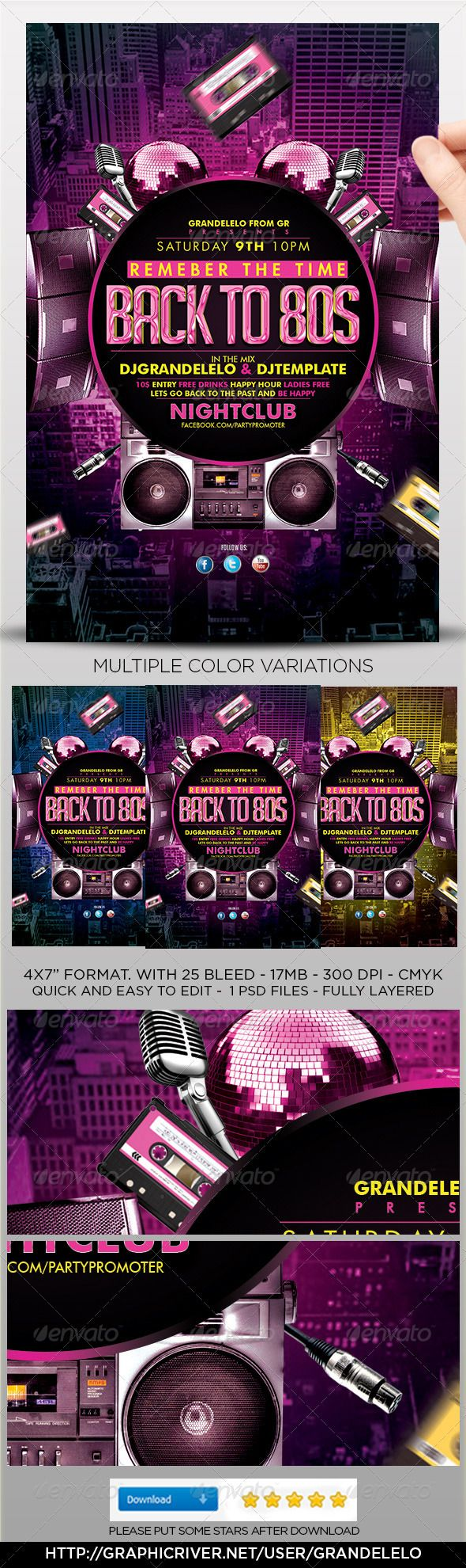 70s poster design template - Flash Back 80s Flyer Template