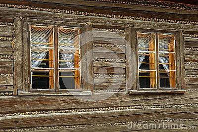 Old wooden windows in small town