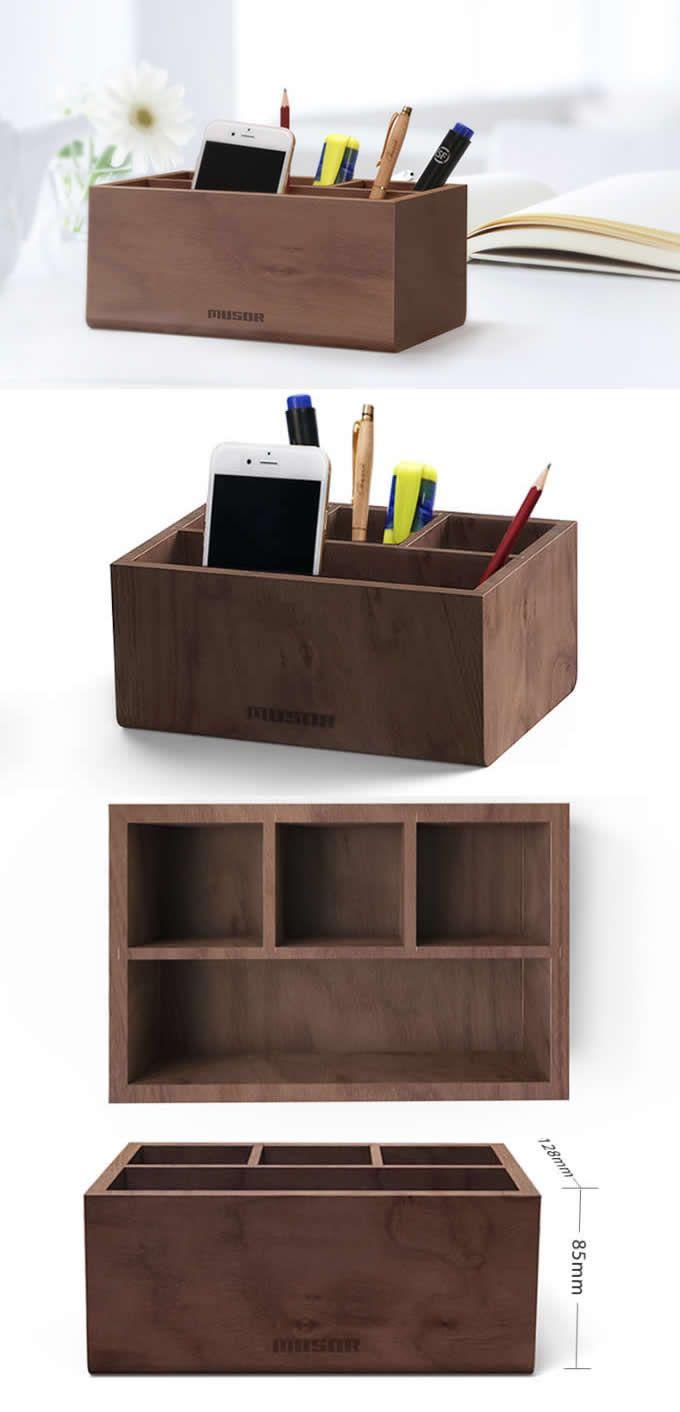 Black Walnut Wooden Desk Makeup Organizer Office Desk Organizer