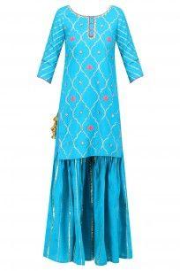 Blue Gota Patti and Lotus Motifs Short Kurta and Lehenga Skirt Set #ayinat #shopnow #ppus #Hppayshopping