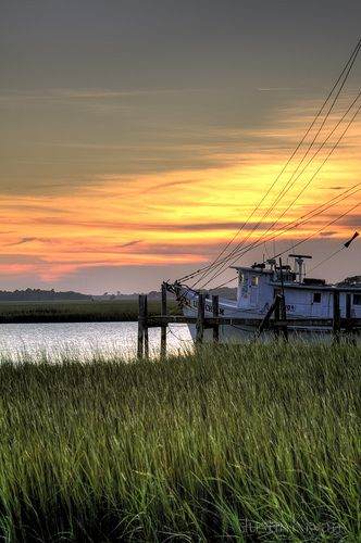 Shrimp boat sunset, Charleston, SC