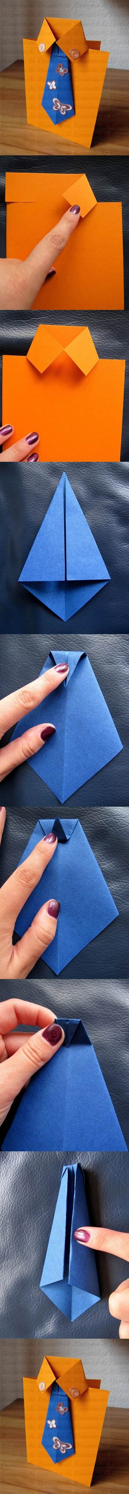 DIY Tie and Shirt Greeting Card | iCreativeIdeas.com Like Us on Facebook…