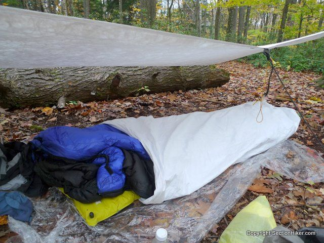 Best Dimensions for a 1 Person Backpacking Tarp - http://sectionhiker.com/best-dimensions-backpacking-tarp/