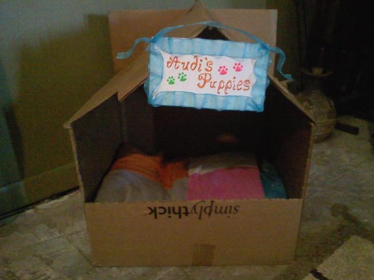 Diy Indoor Dog House Cardboard Boxes Hotglue Amp An Old