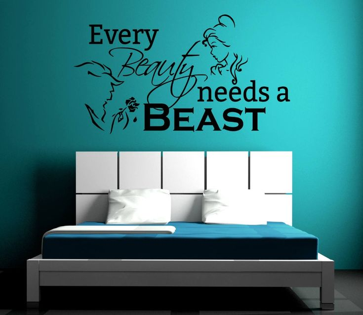 Cheap wall sticker, Buy Quality wall sticker romantic directly from China wall decals Suppliers: Beauty And The Beast Wall Sticker Romantic Home Art Mural Quotes Every Beauty Needs A Beast Wall Decal Girls Bedoom Decor SYY584