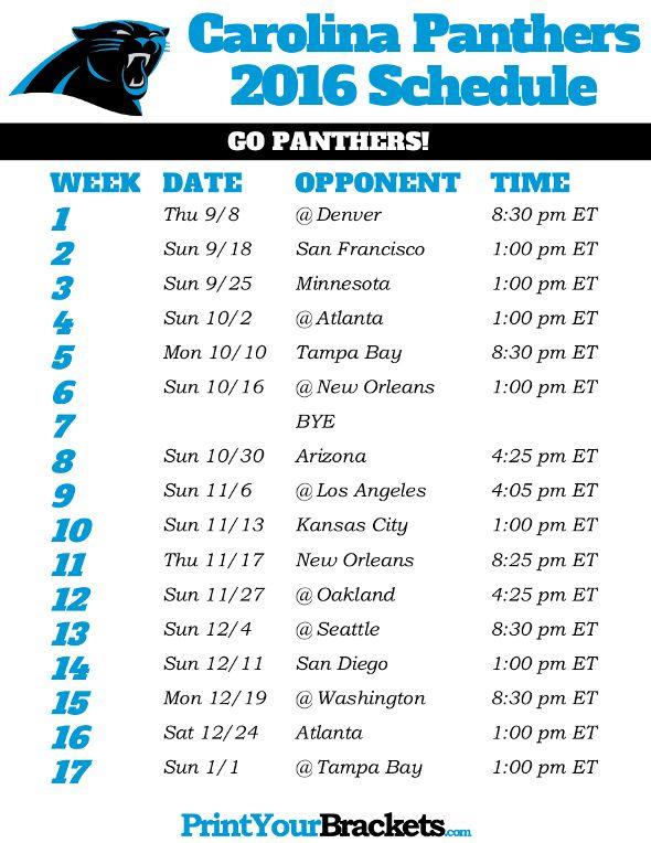 Carolina Panthers Schedule - 2016