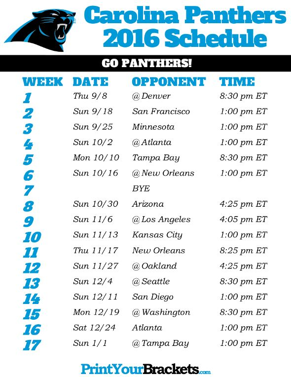 Carolina Panthers Schedule - 2016