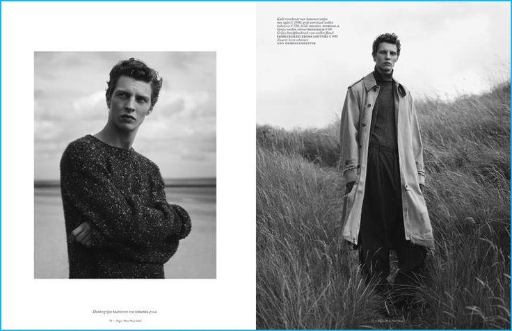 Left, Tim Schuhmacher wears a Chanel sweater. Right, Tim dons fashions from Maison Margiela, Woolrich, Ermenegildo Zegna Couture, and Ann Demeulemeester.