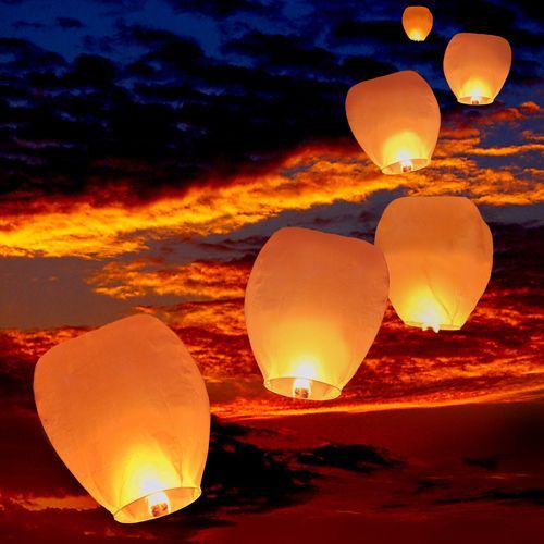 Give your event a magical look with this set of sky lanterns. This set of 10 paper sky lanterns features fuel cells that emit light for up to 10 minutes for a beautiful display on special occasions. A