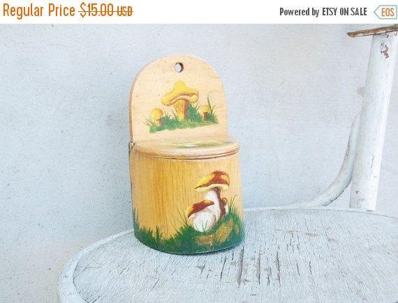 Wooden salt box container bushel Soviet vintage kitchen decor box natural light brown rustic farmhouse decor