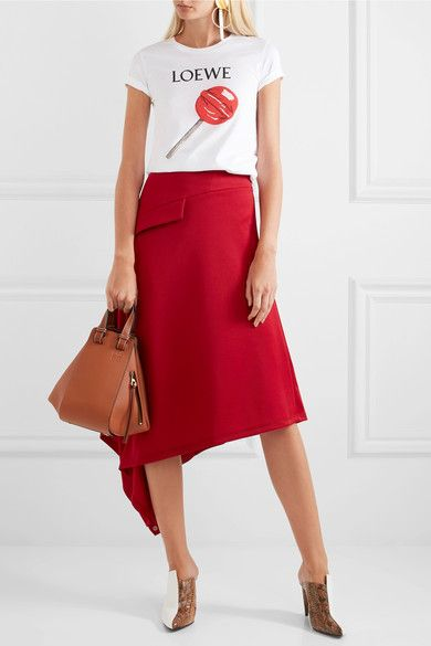 Cherry Red Printed Graphic Tee and Asymmetrical Skirt
