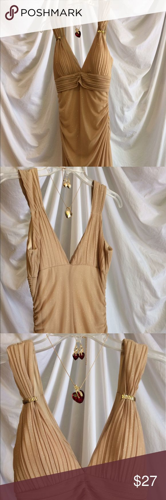 """Gold gown + wishbone heart jewelry 58"""" from shoulder to hem, 28"""" waist, polyester/spandex, fish hook earrings, 18"""" pendant Dresses Maxi"""