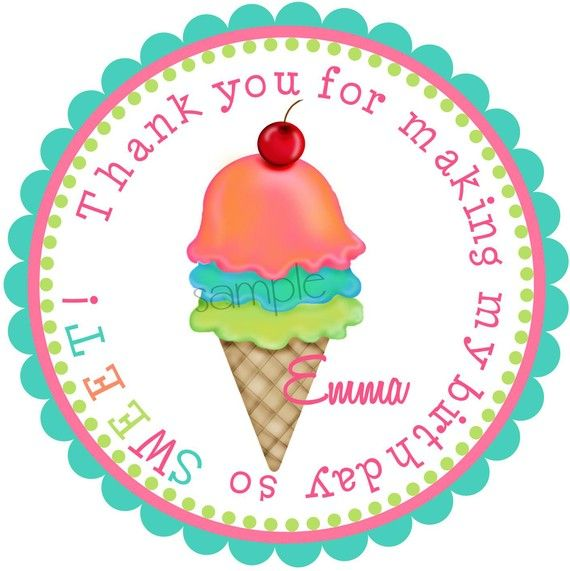 Ice cream Stickers, Ice Cream Birthday Party, Labels,  GIRL, Tags, Seals, Birthday, favor, Children, etsykids, set of 12