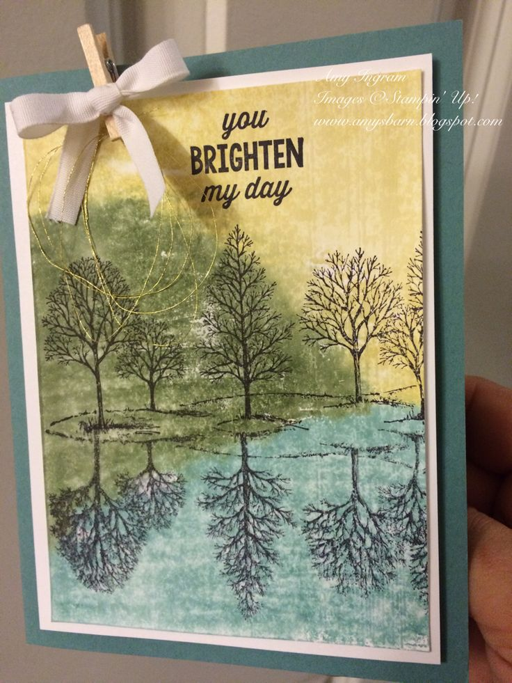 Stampin up lovely as a tree stamp set. Water Technique on shimmer white cardstock. Color block F with markers, spritz, stamp!