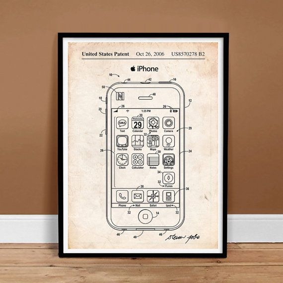 Buy iPhone US Patent Art Apple Computer Steve Jobs Cell Phone - Printable Instant Digital Download, Last Minute Gift Idea by stevesposterstore. Explore more products on http://stevesposterstore.etsy.com