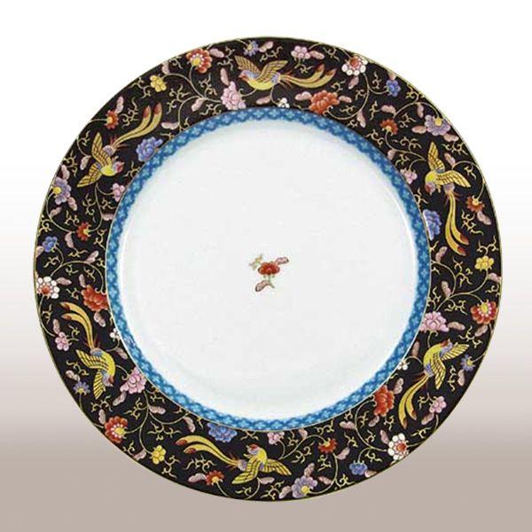 渕地黒絵花鳥紋・ディナー皿