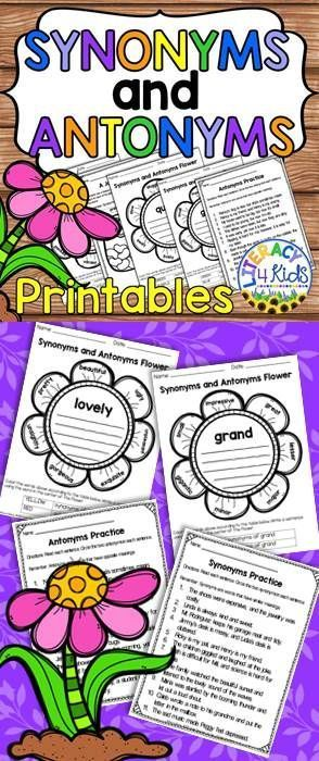 Synonyms and Antonyms Printables for 2nd and 3rd Graders