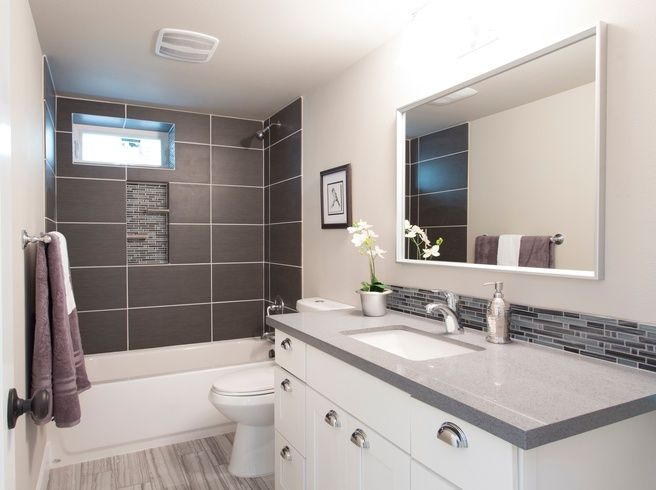Contemporary Full Bathroom With Tiled Wall Showerbath Simple Granite Counters Ceramic Tile Raised Panel Undermount Sink