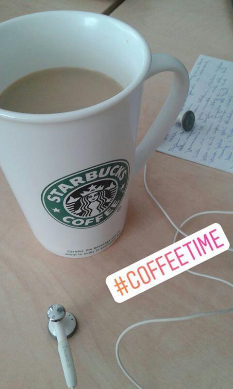 Enjoying a cup of coffee at work. via Instagram stories of @quaintrelle.georgiana  https://www.instagram.com/quaintrelle.georgiana/ | Georgiana Quaint
