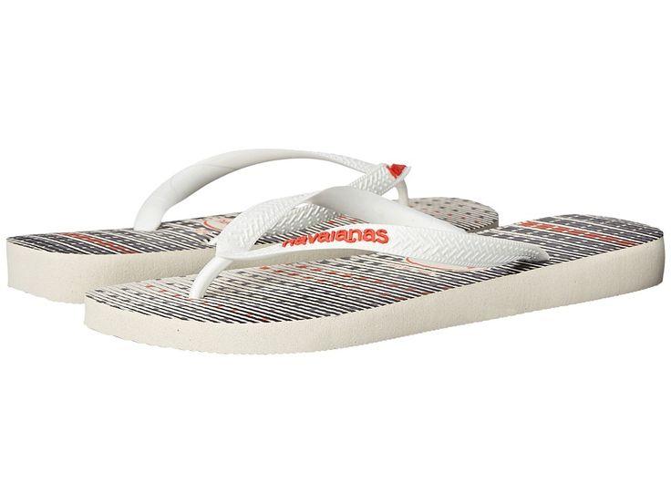 HAVAIANAS HAVAIANAS - TREND FLIP FLOPS (WHITE/WHITE/NEON ORANGE) MEN'S SANDALS. #havaianas #shoes #