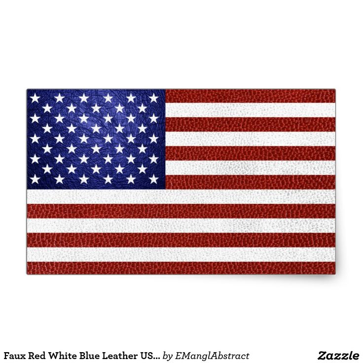 Faux Red White Blue Leather USA Flag Rectangular Sticker