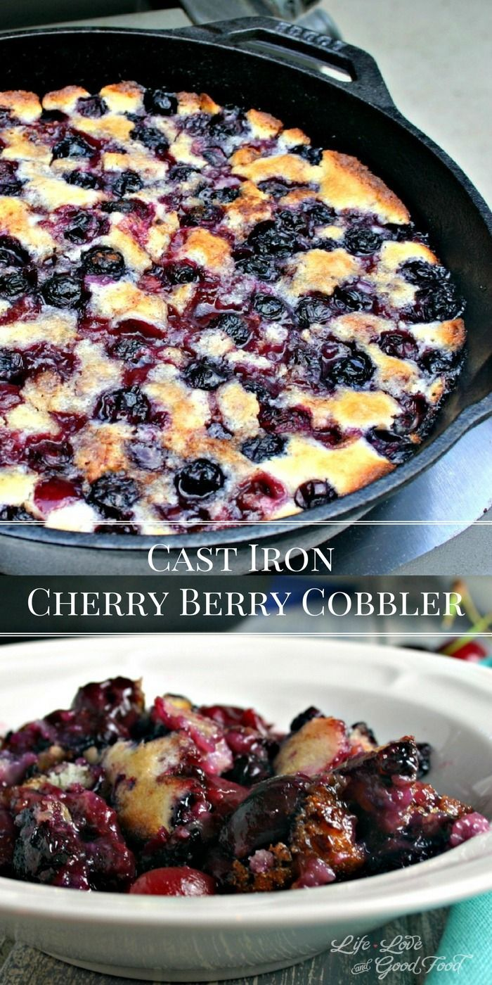Cast Iron Cherry-Berry Cobbler | Life, Love, and Good Food: