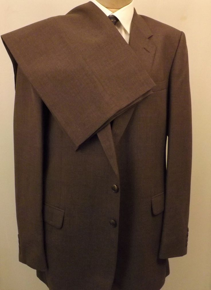 70s Vintage St Michael Brown 2 pc Mens Suit Size 44L Wool Blend