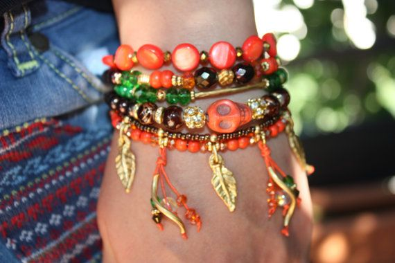 Bohemian Gypsy Bracelet with Skull and Handmade by MonroeJewelry