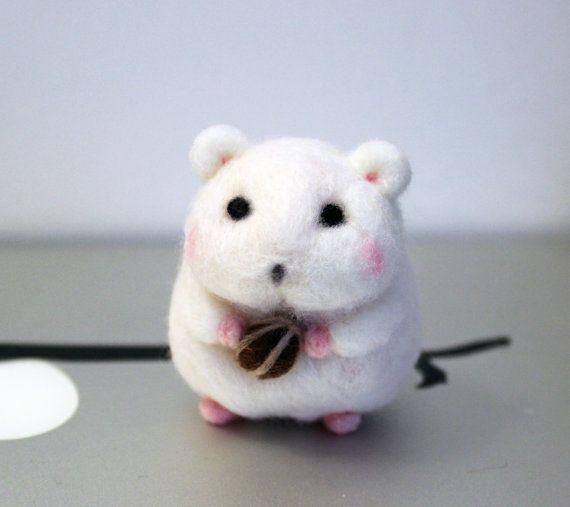 Cute Mini Needle Felted Hamster Miniature Christmas by CafeDeYume