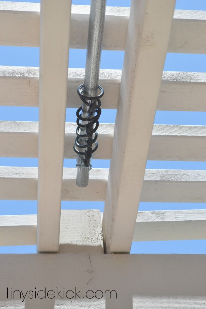 "How to Make an Outdoor Curtain Rod for Very Little Money 3/4 inch Conduit:  about $2.75 for 10 feet; it won't rust which makes it perfect for outside. and they will cut it for you right there in the store!   3/4 in. pipe hangers:  (on HomeDepot.com search ""Halex 3/4 in. Steel Conduit and Pipe Hangers"") These come in a 5 pack for about $2.75 and are really easy to drill into your patio cover to hold your rod. Curtain Rod Clips- 1 inch."