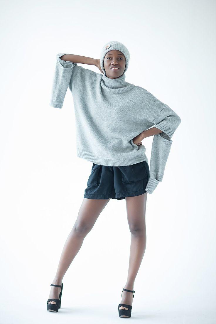 Alpaca knit sweater - Gray turtleneck pullover - Designer knitted sweater - Oversized womens knitwear - Winter top for women