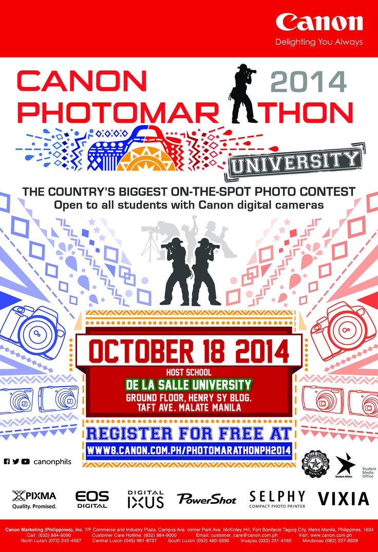 Calling all student shutterbugs! Join the biggest on-the-spot photo competition, The 2nd CANON PHOTOMARATHON UNIVERSITY on October 18, 2014(Saturday) at the Henry Sy Bldg, De La Salle University, Taft Ave. Manila.  Registration is free and will begin on Oct. 10, 2014(Friday) at 3pm, The Contest is open to all students of all levels. Register at www8.canon.com.ph/photomarathonph2014