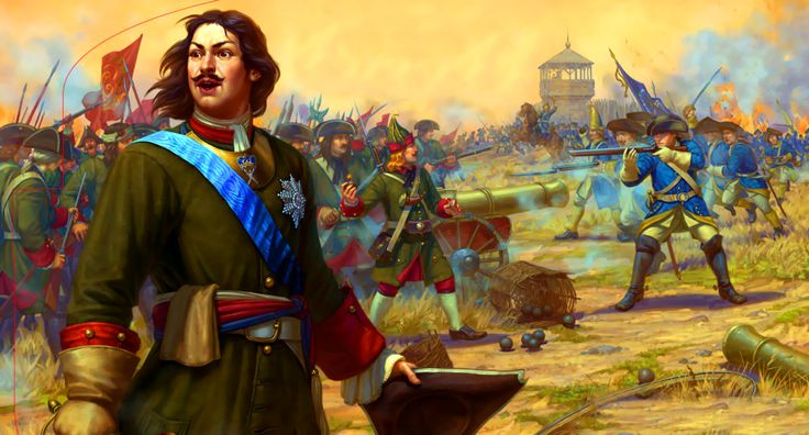 Tsar Peter the Great leading the Russian army at the Battle of Poltava, Great Northern War