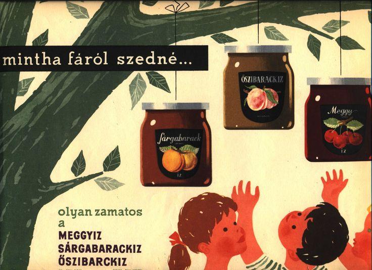 Mintha fáról szedné… olyan zamatos a meggyíz, sárgabarackíz, őszibarackízMohrlüder Vilmos grafikája1960-as évek_______A Magyar Kereskedelmi és Vendéglátóipari Múzeum gyűjteményéből.