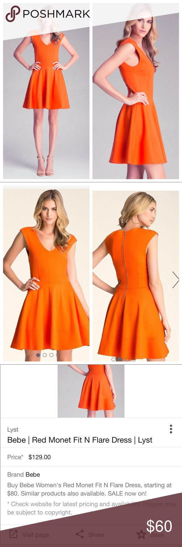 """Bebe Monet Fit and Flare Dress Bold, bright fiery orange. V neck circle dress features capped sleeves and falls perfectly in overlapping pleats. Full zippered back. Simplicity is perfect.  * 72% Viscose, 24% polyamide, 4% spandex * Hand wash * Imported * Center back to hem: 27"""" (68 cm) * Model is 5'10"""" and wears a US size S. perfect condition, worn only once. Size XXS but has a lot of wiggle room and could fit up to a size 4. Measurements provided upon request. bebe Dresses"""