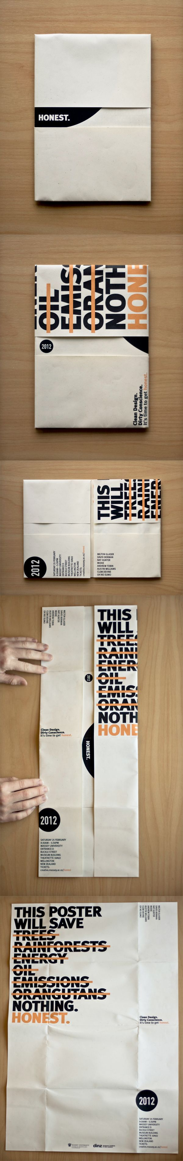 Honest. – Conference Folding A2 dust-jacket poster.  https://www.behance.net/gallery/1816391/Honest-Conference