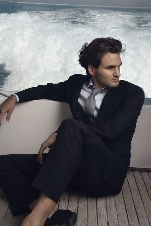 Roger Federer, being classy on a boat.