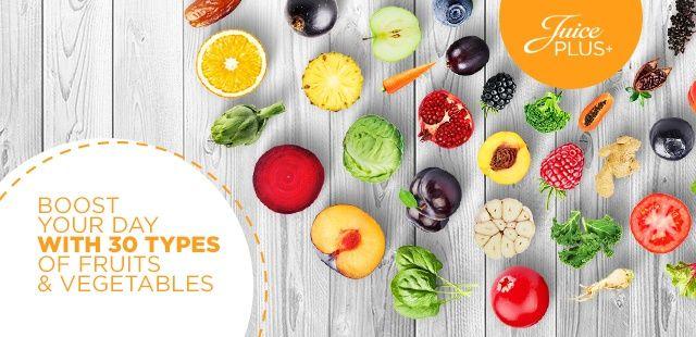 Entdecke das Beste nach Obst und Gemüse! Juice PLUS+ besteht aus 27 Sorten Obst, Gemüse und Beeren. Alle Produkte gibt es im Shop.