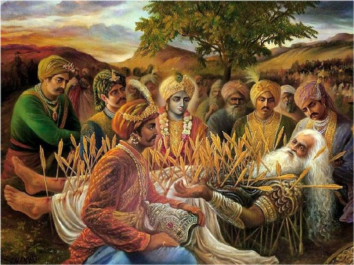 BHISHMA PITAMAH'S FALL AND REST ON ARROW BED...