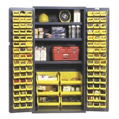 Durham - 3501-BDLP-102-3S-95 - Heavy Duty Storage Cabinet with 3 Shelves and 102 Bins