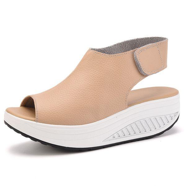 Ежедневно Специальные женские летние сандалии тряхнул обувь кожа склон Velcro с толстой коркой булочку с водонепроницаемым головы рыбы в