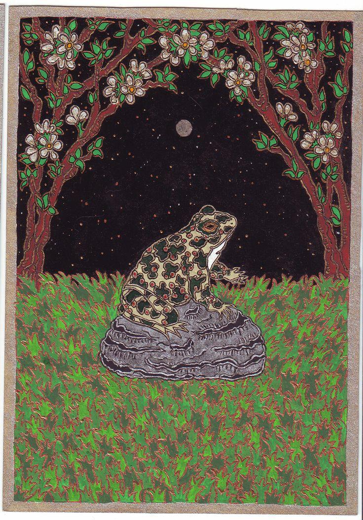 """Zöld varangy, 2006.""""A Nagy Istennő ősi földismeretét adja, és emlékeztet a nőiség útjára.(..)Arra ösztönöz, h találjuk meg saját utunkat, messzebb attól a széles úttól, ahol a többiek mennek. Beavat a misztériumok mélyébe, a titokzatos tudásba és rendkívül szent medicinát ad, amelyet figyelemmel és tisztelettel kell kezelnünk"""" Jane Ruland"""