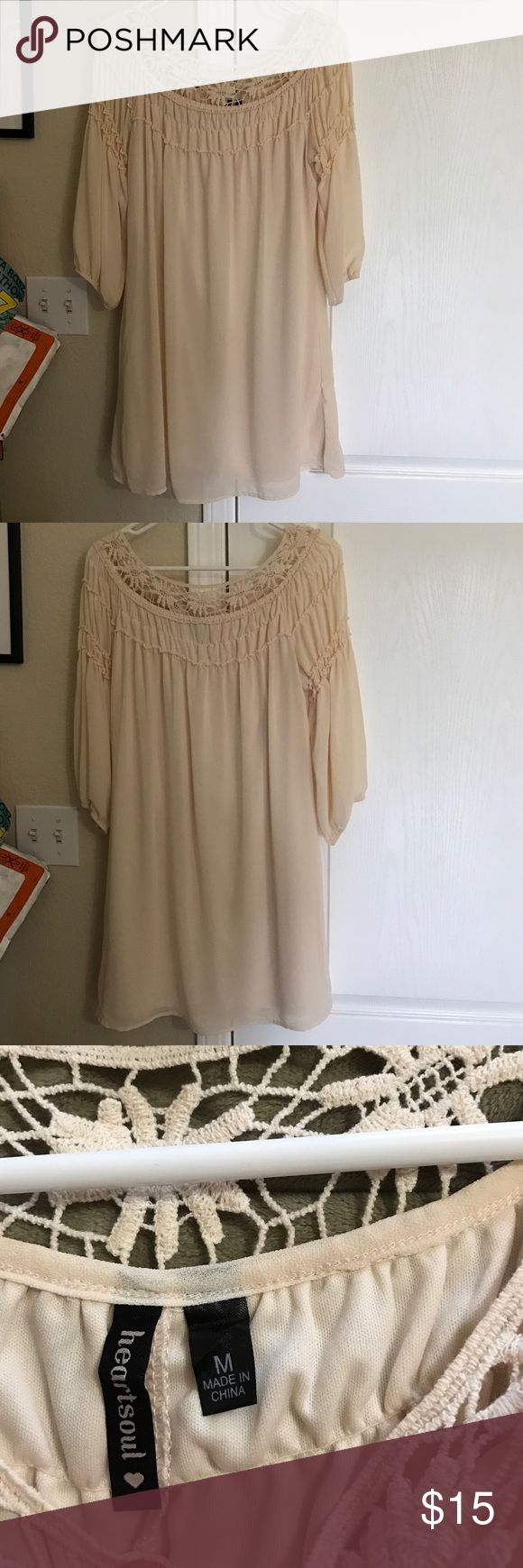 Cream Colored Dress NWOT Bought to wear to a function that was cancelled so never worn. Brand is Heartsoul. Size Medium. Dress up with some cute jewelry and pumps!! Classic Look! Dresses Midi