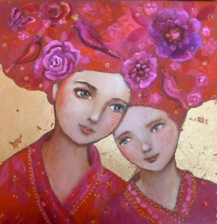 Les âmes fleurs - Boyama,  30x30 cm ©2015 Loetitia Pillault tarafından -                                                            Figüratif Sanat, Tuval, Portreler, femme, enfant, maternité, or, rose